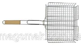 Решетка-гриль корзину 25х31 см, с ручкой дерево, 56 см