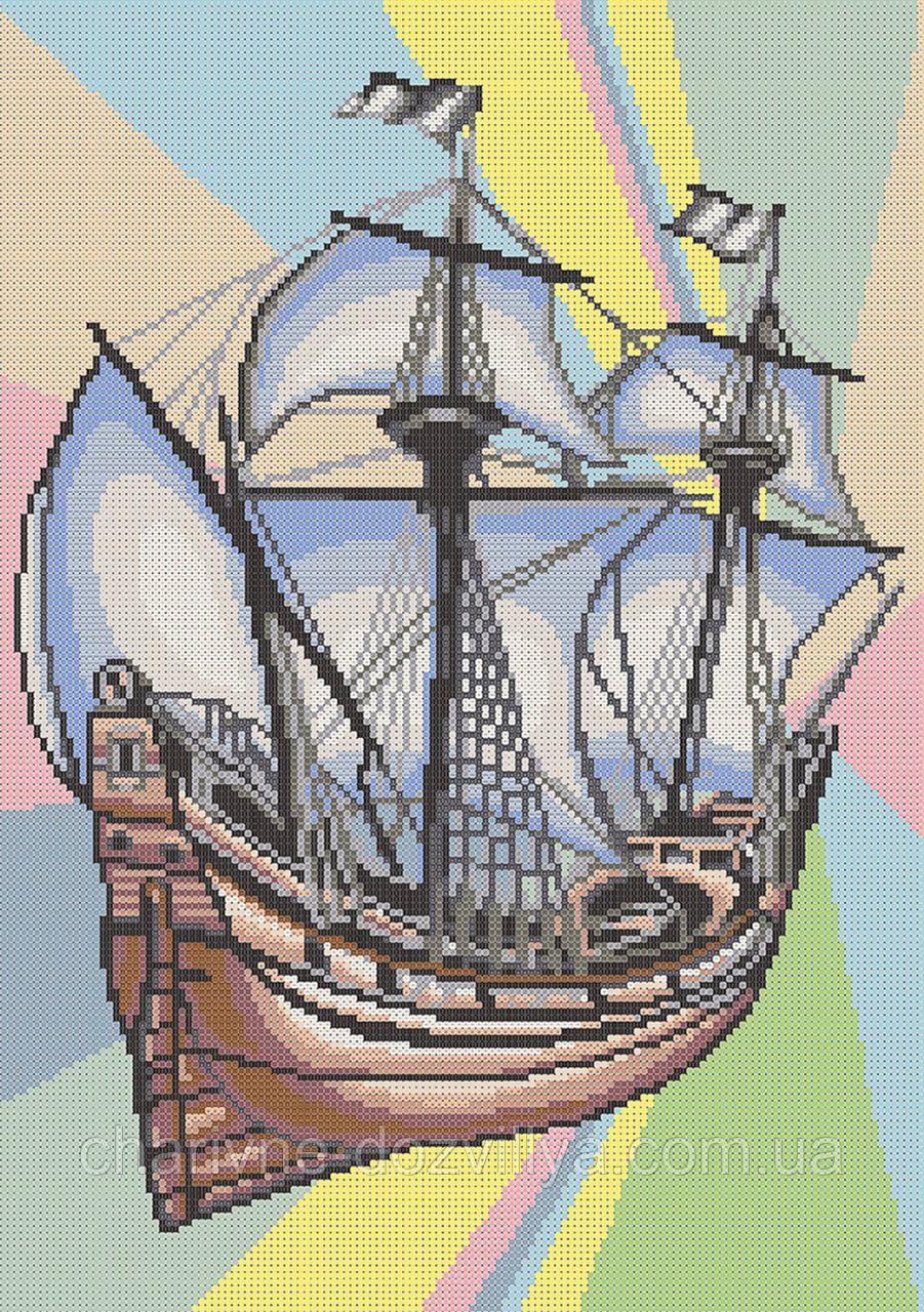 """Схема для вышивки бисером на атласе """"Корабль Меркурий"""""""