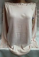 Свитер с бусинками кашемировый женский батальный , фото 1