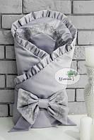 Конверт-одеяло для новорожденного серый