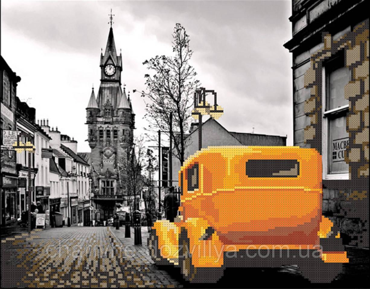 """Схема для вышивки бисером на атласе """"Лондон. Желтое такси"""""""