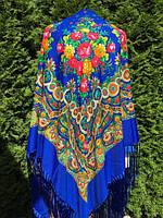 Хустина синя святкова з орнаментом та квітами 150*150 см