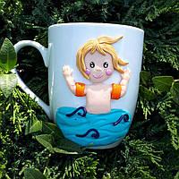 Кружка декорированная полимерной глиной А я на море Сувениры морской тематики ручной работы, фото 1