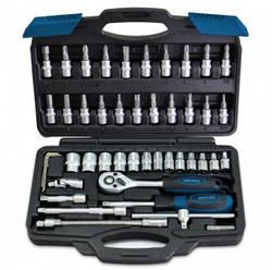 """Набор головок и насадок Berg 1/4"""" (4-14 мм)-Cr-V45 предметов, в портфеле, -Berg 52-106- Германия"""