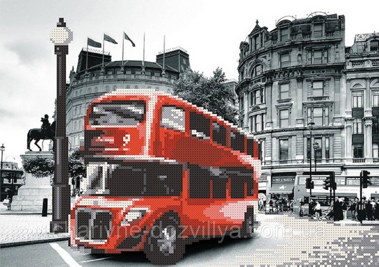 """Схема для вышивки бисером на атласе """"Лондон. Красный автобус"""""""