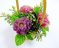 """Букетная композиция из мыльных цветов в корзинке """"Букет хризантем"""""""