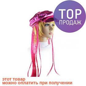 Кепка женская с косичками (розовая) / аксессуары для волос