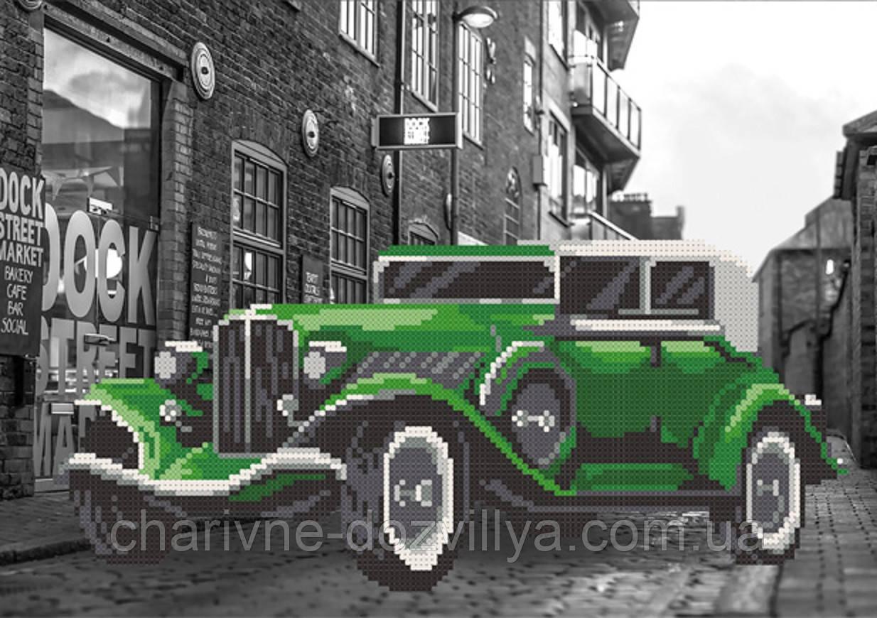 """Схема для вышивки бисером на атласе """"Улица. Зеленый автомобиль"""""""