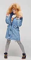 Парка женская зимняя джинсовая с натуральным мехом П-31