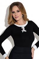 Женская офисная блузка черного цвета с длинным рукавом - Carla Eldar, коллекция осень-зима 2017-2018