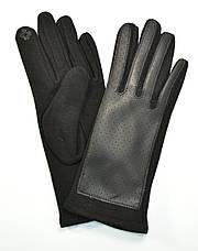 Женские трикотажные  перчатки с кожзамом  и сенсорными пальчиками на флисовой подкладке, фото 2