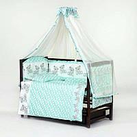 """Комплект постели в кроватку для новорожденного """"Мишки горох"""" мята"""