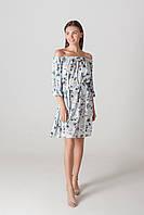 Платье c открытыми плечами цветы короткое