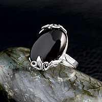Агат черный, серебро 925, кольцо, 603КА