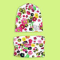 Детская шапка с хомутом осенне-весенняя Цветы