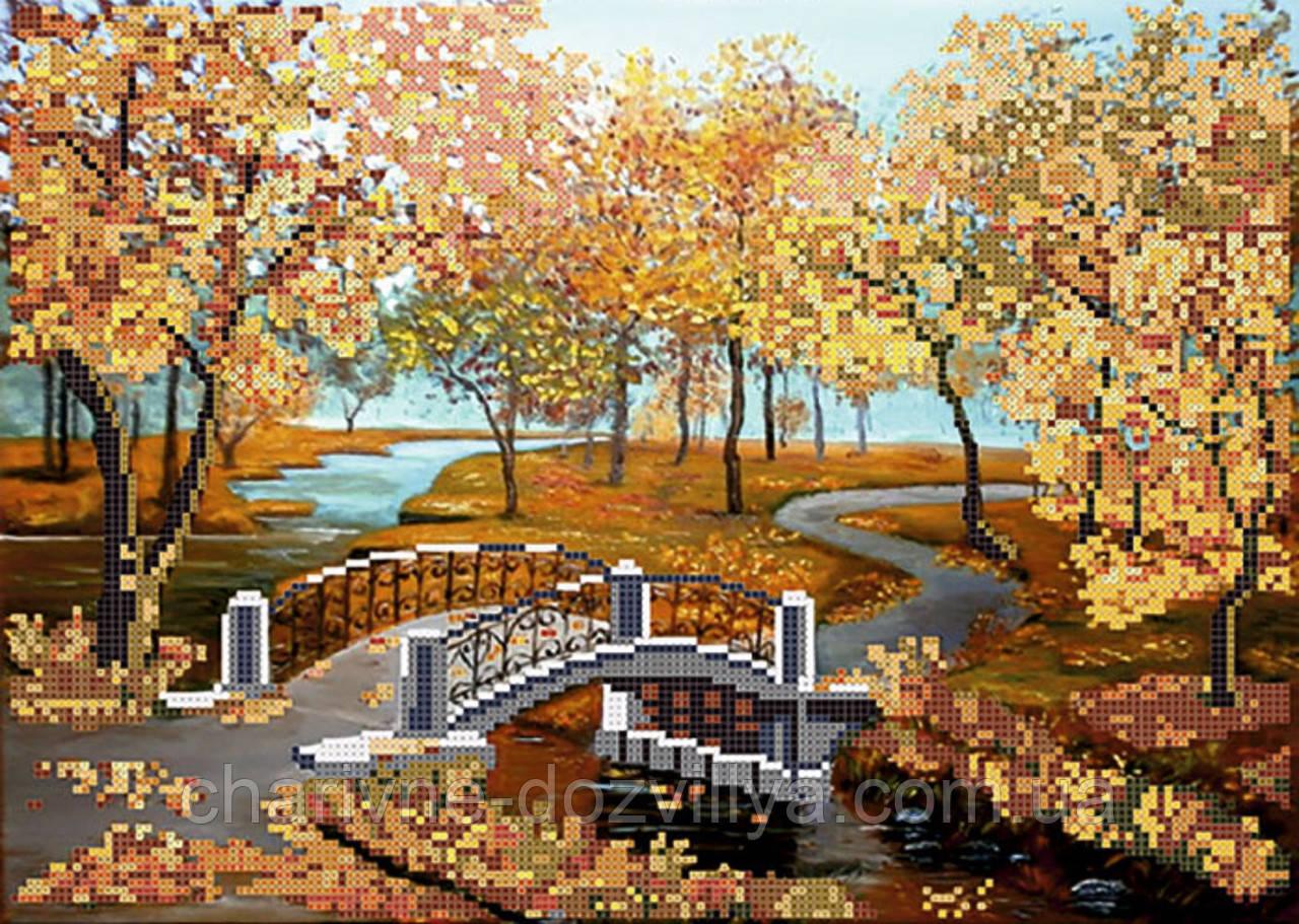 """Схема для вышивки бисером на атласе """"Осенний пейзаж"""""""