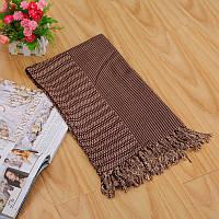 Стильный легкий женский шарф в полоску коричневого цвета