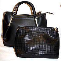 Женская черная сумка 2 в 1 (сумка и клатч)