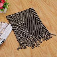 Стильный легкий женский шарф в полоску кофейного цвета
