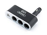 Разветвитель для прикуривателя 3в1 + usb CarLife CS302
