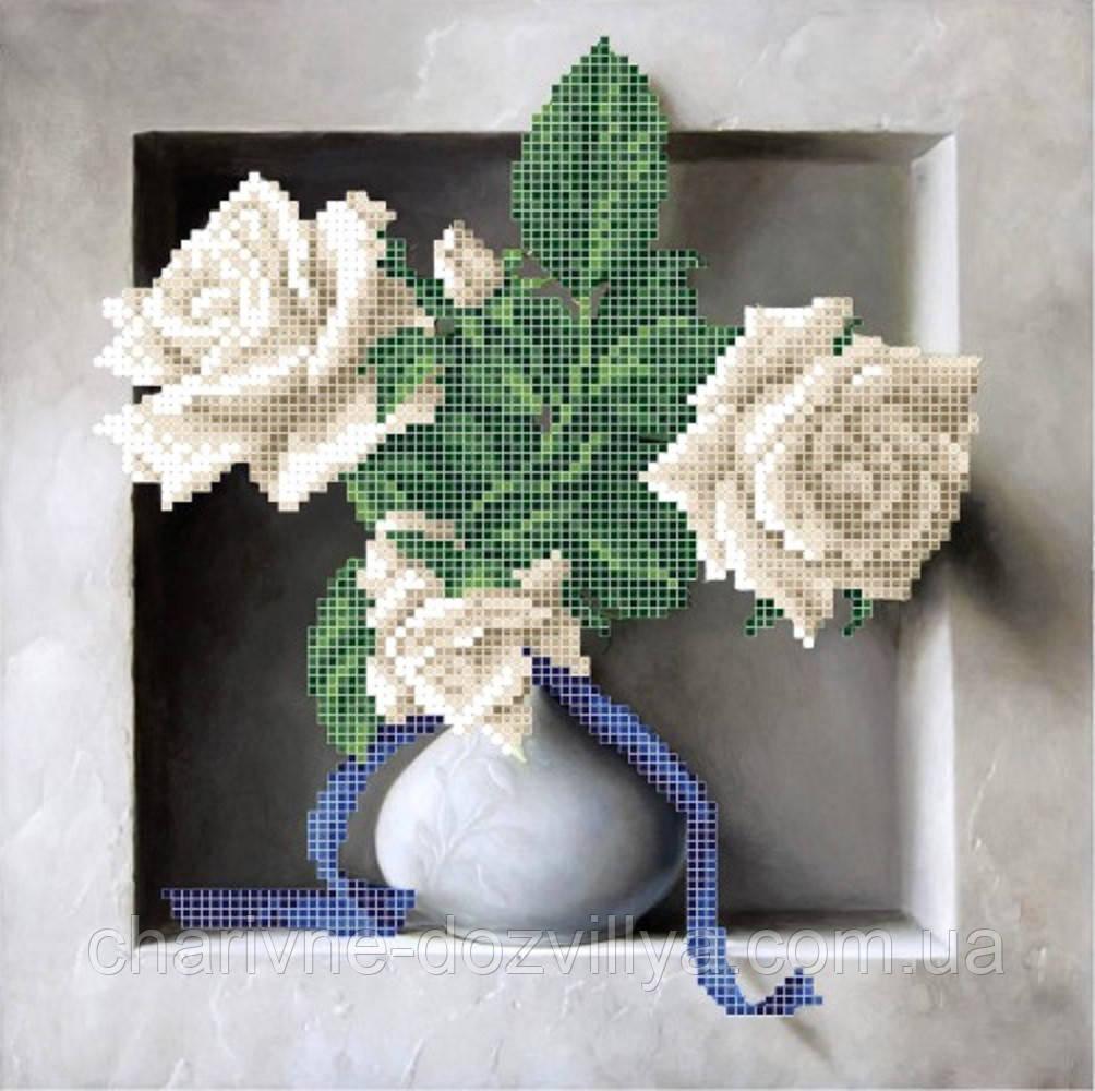 """Схема для вышивки бисером на атласе """"Чайные розы"""""""