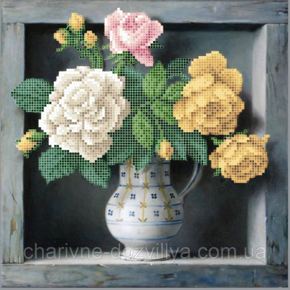 """Схема для вышивки бисером на атласе """"Садовые розы"""""""