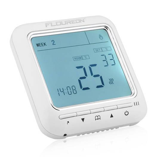 Терморегулятор программируемый недельный Floureon 8900. Белая подсветка.