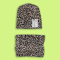 Шапочка для девочки с шарфом , шапочка и хомут Леопард
