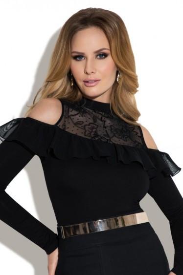 b16fb3af319 Женская блуза черного цвета с кружевом - Carmen Eldar. Коллекция осень-зима  2017-