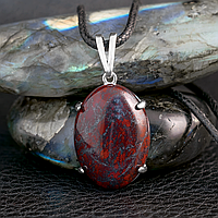 Яшма красная, серебро 925, кулон, 572КЛЯ