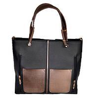 Женская сумка ''premium'' 34*28*14 см черная с бронзовыми вставками