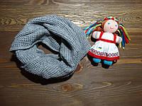 Вязанный хомут на голову и шею зимний, двойной