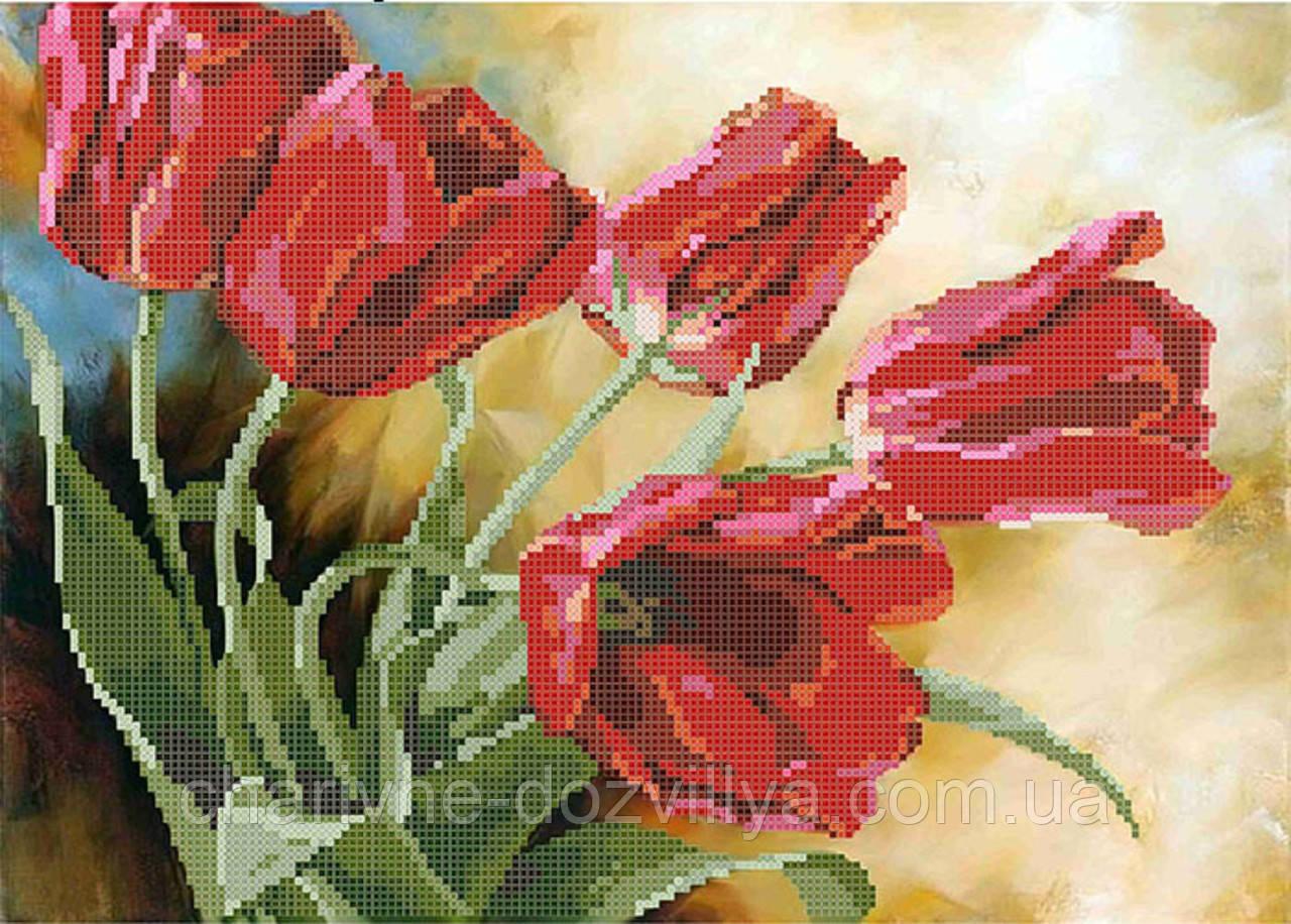 """Схема для вышивки бисером на атласе """"Красные тюльпаны"""""""
