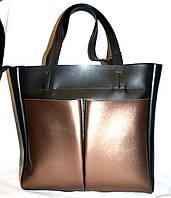 Женская комбинированная элитная сумка B Elit с двумя карманами 32*33 (черная с бронзой), фото 1