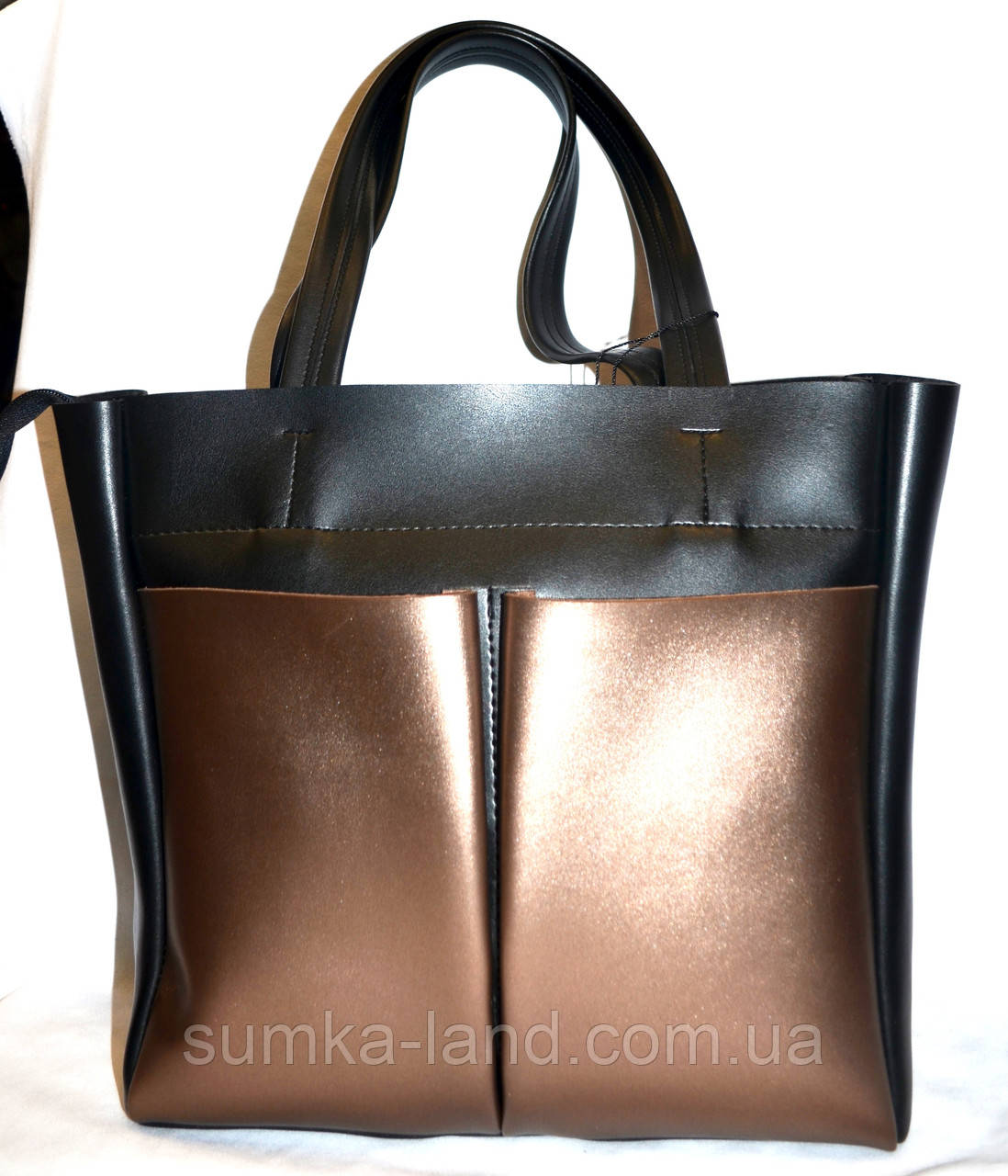 Женская комбинированная элитная сумка B Elit с двумя карманами 32*33 (черная с бронзой)