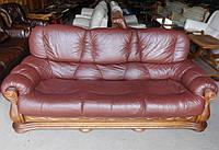 Шкіряний,трьохмісний диван
