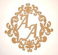 Свадебная монограмма с инициалами (буквами) АА заготовка для декора