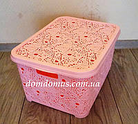 "Корзина для белья ""Ажур""  28 л  Elif Plastik, Турция, розовая"