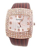 Наручные часы женские с коричневым ремешком код 111
