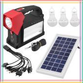 Фонарь переносной аккумуляторный Luxury 1960T 1W+24 SMD, 3 лампы 3W, Power Bank, солнечная батарея