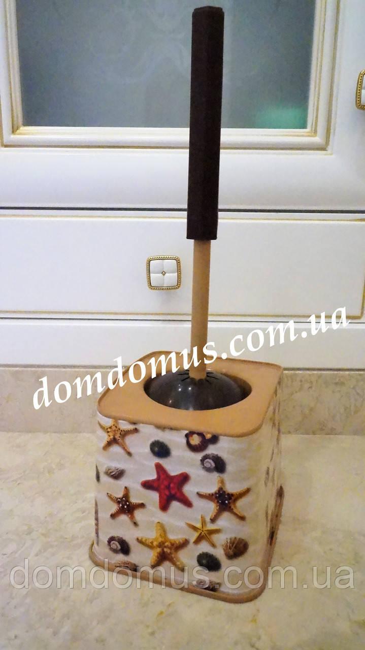 """Комплект для туалета (ершик с подставкой)  """"Морские звезды"""", Elif Plastik"""
