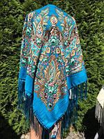 Хустина блакитна з орнаментом та квітами 140*140 см