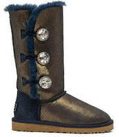 Женские зимние высокие сапоги - Угги UGG Bailey Button Triplet Bling Blue Gold, арт.0366