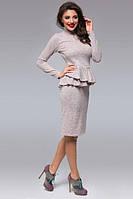 Платье женское короткое из ангоры с баской P7378, фото 1