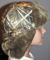 Шапка-ушанка камуфлированная с окантовкой из искусственного меха
