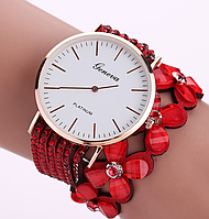 Наручные женские часы c красным ремешком код 270