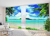 """ФотоШторы в зал """"Экзотический пляж"""" 2,7м*2,9м (2 половинки по 1,45м), тесьма"""