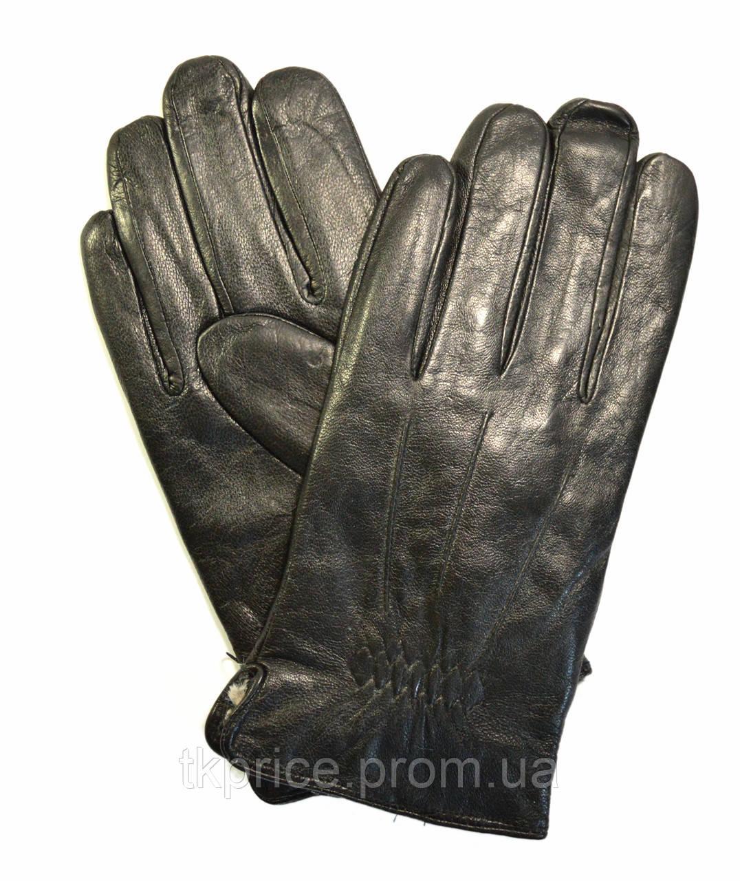 Мужские кожаные перчатки  на меху кролика