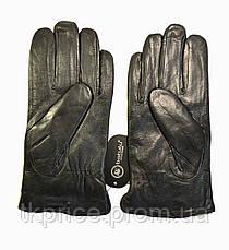 Мужские кожаные перчатки  на меху кролика, фото 2