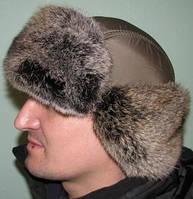 Шапка-ушанка с окантовкой из кроличьего меха